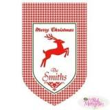 Monogrammed Christmas Reindeer Flag