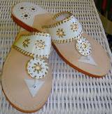 White Patent And Gold Palm Beach Sandals