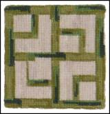 Set Of Four Bamboo Needlepoint Coasters