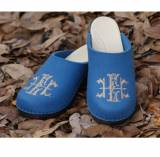Wedgewood Blue Wool Clogs With A Khaki  . . .