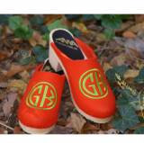 Orange Wool Clogs With Lime Green  . . .
