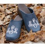 Denim Leather Clogs Three Aloha Monogram