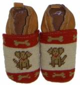 By Paige Needlepoint Brown Dog Baby Booties