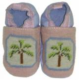 By Paige Needlepoint Pink And Blue Palm  . . .