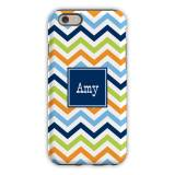Personalized IPhone Case Chevron Blue, Orange  . . .