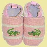 Needlepoint Children- Pink Gator Booties
