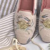 By Paige Ladies Crab Tan Needlepoint Loafers