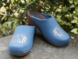 Monogrammed Denim Blue Wool Clogs