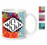 Monogrammed 11oz Coffee Mug Many Patterns