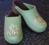 Monogrammed Clogs In Camo Wool