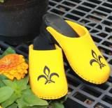 Bright Yellow Wool Clogs With A Black  . . .