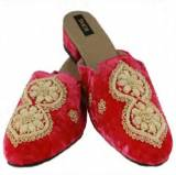 Saachi Velvet Fuchsia Slide With Gold Slides