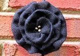 Loopty Loo Black Burlap Flower Buckle