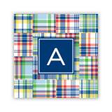 Personalized Coasters Madras Patch Blue