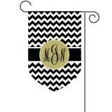 Monogrammed Chevron Print Garden Flag