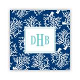 Personalized Coaster Coral Repeat Navy