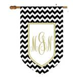 Chevron Print House Flag With Shield Monogram