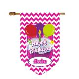 Monogrammed Birthday House Flag In Hot  . . .