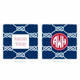 Personalized Coasters Nautical Knot Navy