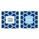 Personalized Coasters Bamboo Rings Navy