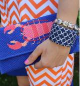 Needlepoint Cuff Bracelet Navy And White  . . .