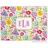 Bright Floral Monogrammed Glass Cutting Board