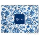 Classic Floral Blue Glass Cutting Board