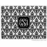 Madison Damask White With Black Glass  . . .