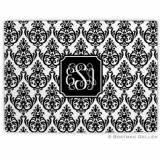 Madison Damask White With Black Glass  . . .