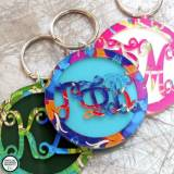 Greek Keychain With Script Letters And  . . .