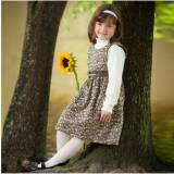 Monogrammed Girl's Brown Floral Sash Dress