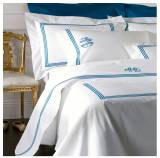 Matouk Bel Tempo Custom Twin Flat Sheet With  . . .