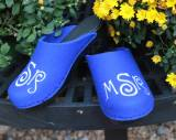 Royla Blue Wool Clogs With A Curly Que  . . .