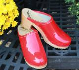Red Patent High Heel Clogs With No Monogram
