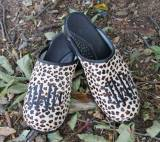 Leopard Fur Clogs With A Diamond Black  . . .