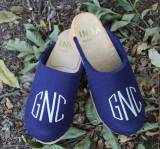 Royal Blue Wool Clogs With A White Circle  . . .