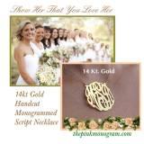 Monogrammed Solid 14 Karat Gold Script  . . .