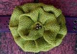 Loopty Loo Chartreuse Burlap Flower Buckle