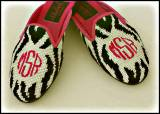 Monogrammed Ladies Needlepoint Zebra  . . .