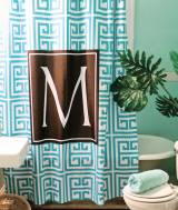 Monogrammed Printed Shower Curtain Design  . . .