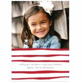Personalized Brush Stripe Red Flat Photo Card