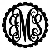 Three Letter Scallop Metal Door Monogram
