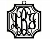Three Letter Crest Metal Script Monogram  . . .