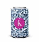 Monogrammed Zebra Patterned Can Koozie