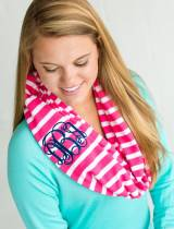 Monogrammed Infinity Scarf In Hot Pink Stripe