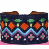 Navy Aztec Needlepoint Cuff