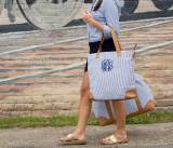 Monogrammed Shoulder Bag Navy Seersucker  . . .