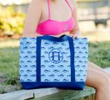 ON SALE! Monogrammed Finn Fish Print Tote Bag