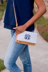 Monogrammed Navy Seersucker Crossbody Bag