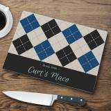 Personalized Glass Cutting Board Argyle